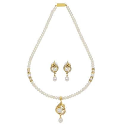 Pearls and czs necklace and earrings set