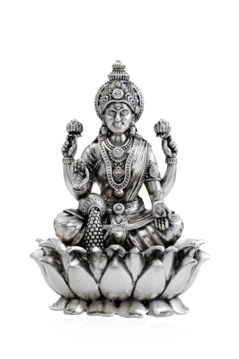 Goddess of Wealth, Dhana Lakshmi crafted using Silver in Antique Workmanship