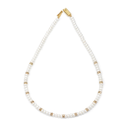 Fresh Water Seed Pearl Necklace with Czs