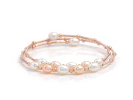 Multicolor Pearls Bracelet crafted in alloy and white gold polished
