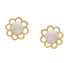 Pearl in a Flower Studs