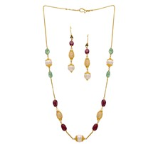 Ruby, Emerald & Pearl Drop Chain Set