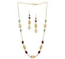 Ruby, Emerald & Pearl Drop Chain Set