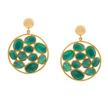 Emerald Studded Round Drop Earrings