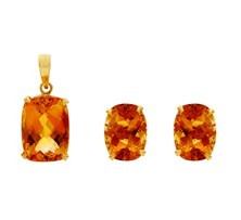 Golden Topaz Statement Earrings & Pendant