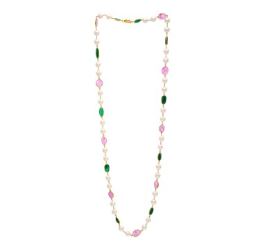 Pearl, Ruby & Emerald Pebble Necklace