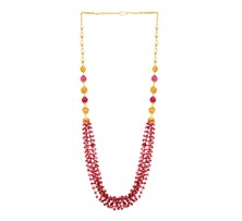 Multi Strand Ruby & Pearl Necklace