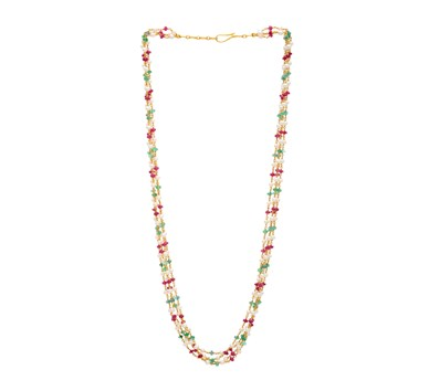Ruby, Emerald & Pearl Necklace
