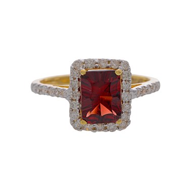 Garnet & Diamonds Statement Finger Ring