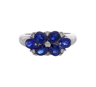 Blue Sapphire & Diamonds Finger Ring