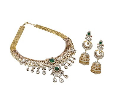 Gold Diamond Necklace Set-GNKS040