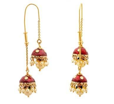 Pearl gold double jhumka known as Sui Dhaga Jhumki