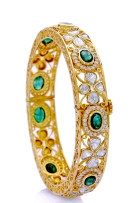 Gorgeous Bangles with Polki Diamonds and Emeralds