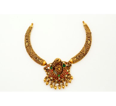 22 carat gold antique kanti necklace with peacock pendant