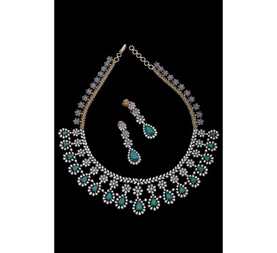 Bridal diamond emerald Flower Design necklace set