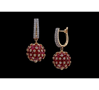 Gold with diamond ruby ball earrings