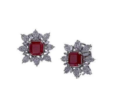 Square Ruby and Diamond gold earrings