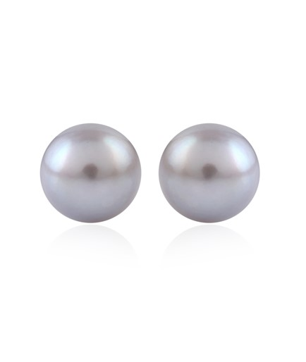Ash color fresh water pearl Earstuds crafted in silver